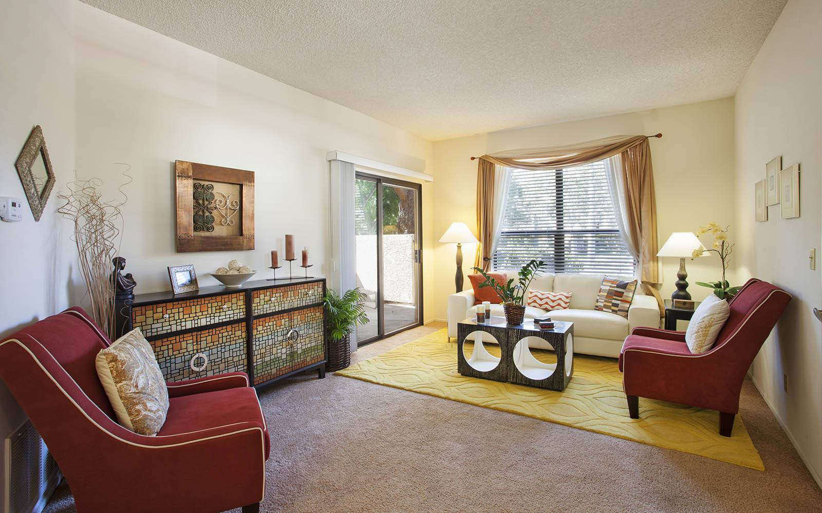 Brightly Decorated Living Room at Cypress Point Apartments in Ventura, CA