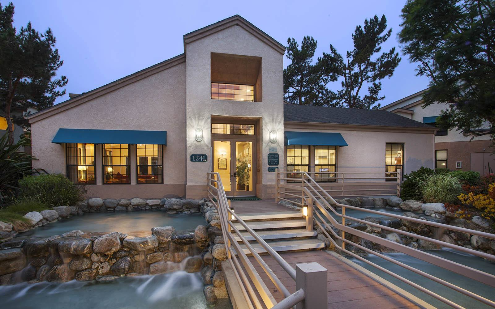 Leasing Office With Water Features at Cypress Point Apartments in Ventura, CA