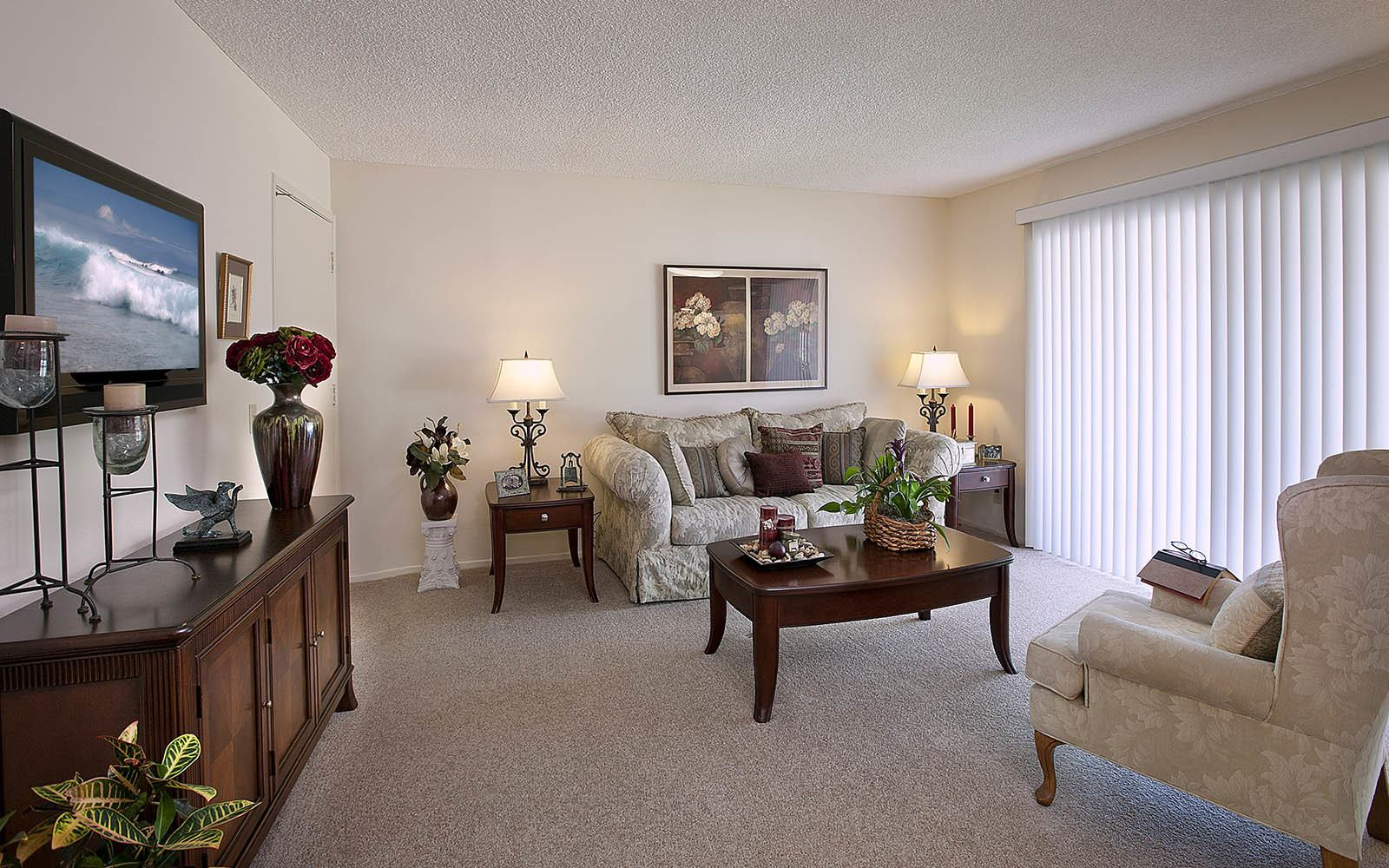 Living room at Encina Meadows Apartments in Goleta
