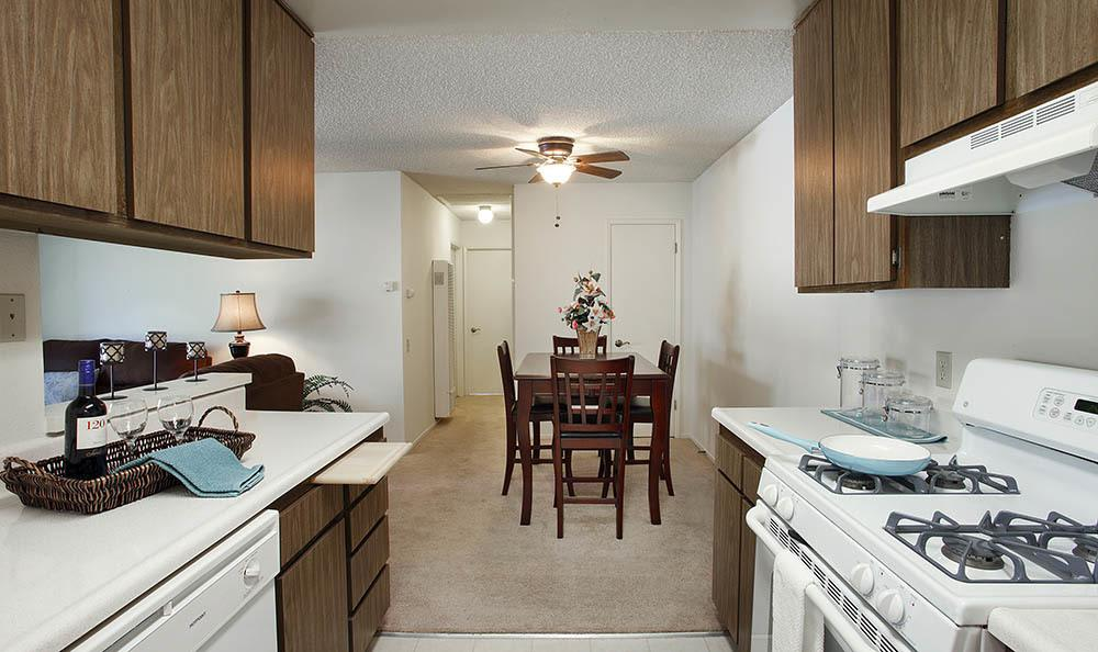 Kitchen and dining room at Knollwood Meadows Apartments in Santa Maria