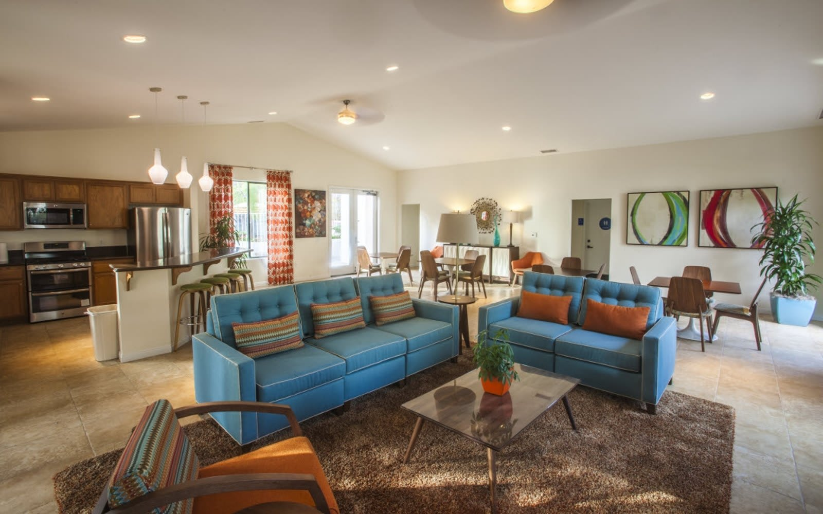 Spacious living room at Pacific Oaks Apartments in Goleta