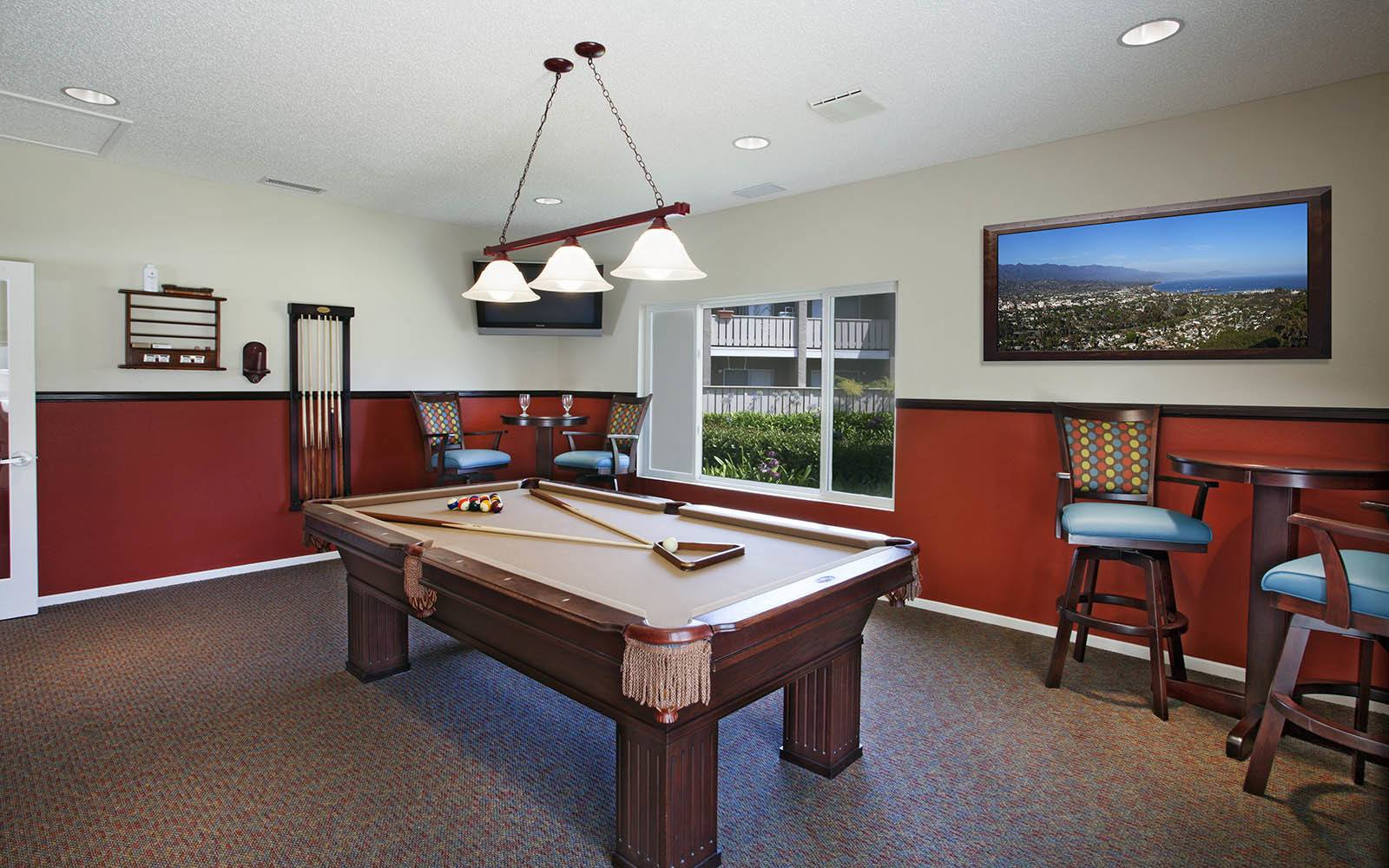 Billiards at apartments in Santa Barbara, CA