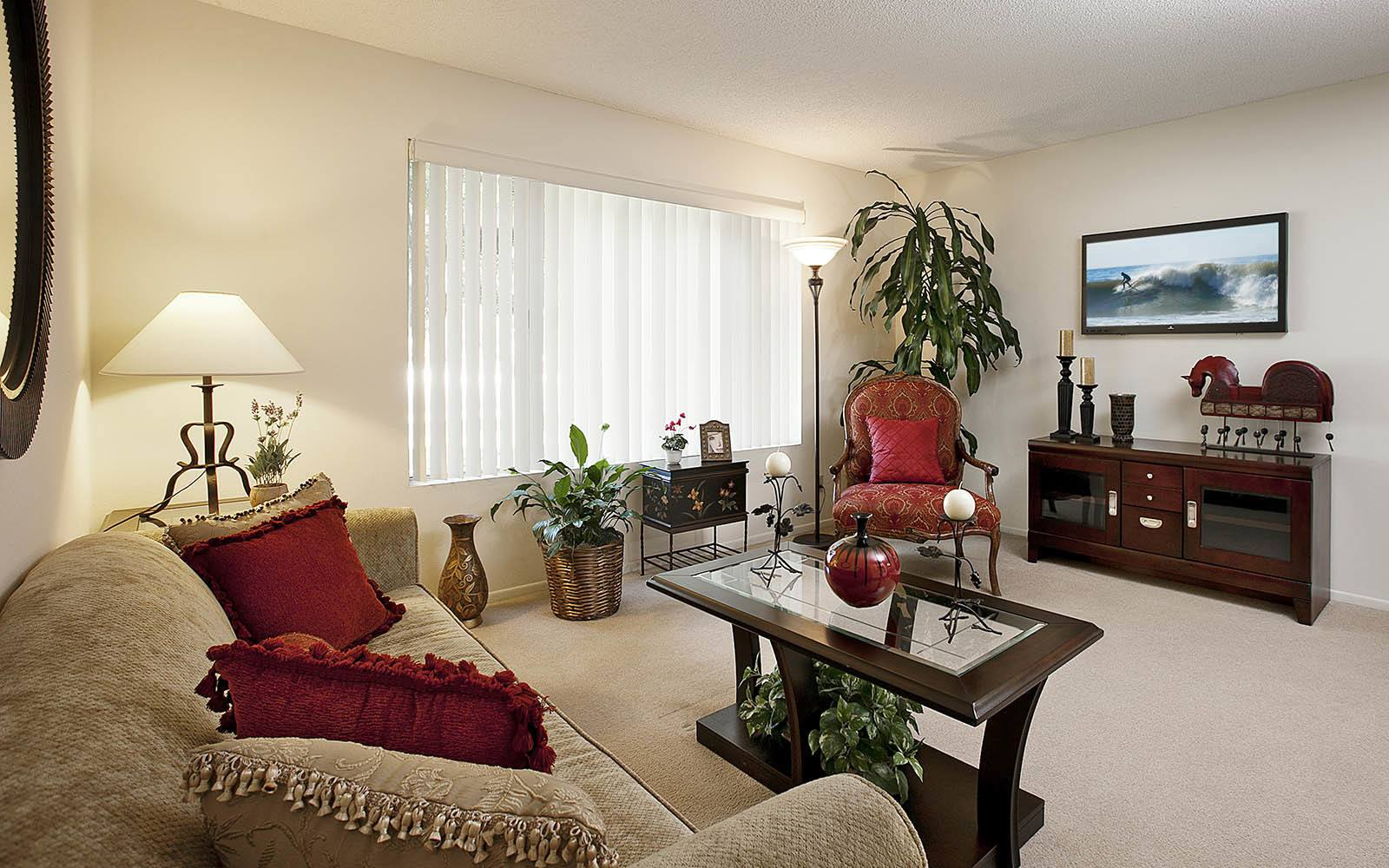 Living room at Patterson Place Apartments in Santa Barbara
