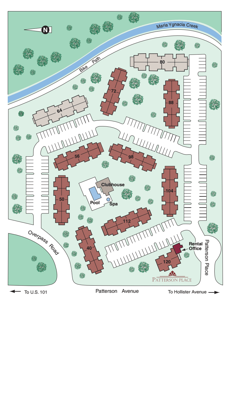 Property map of Patterson Place Apartments in Santa Barbara
