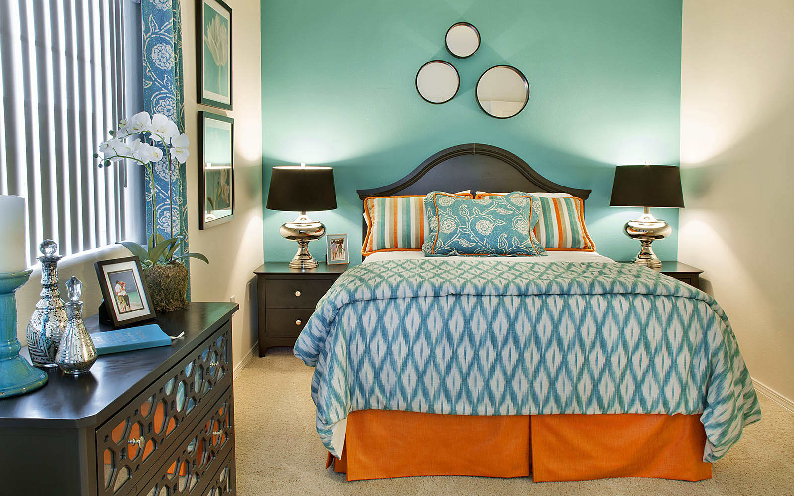 Brightly Decorated Master Bedroom at Siena Apartments in Santa Maria, CA