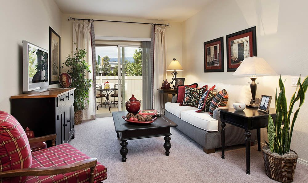 Living room at Sumida Gardens Apartments in Santa Barbara