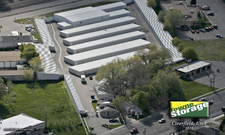 Aerial view of Towne Storage in Clearfield, UT