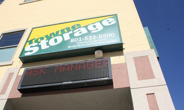 Main sign of Towne Storage in Salt Lake City, UT