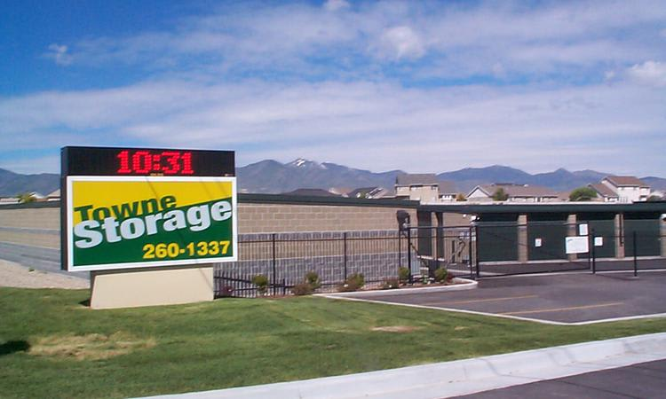 Main sign of our self storage facility at Towne Storage in West Jordan, UT