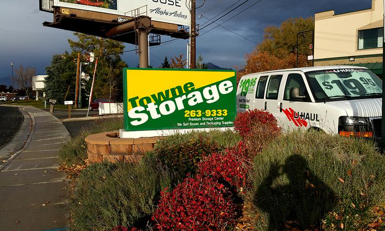 Sign next to the route at Towne Storage in Cottonwood Heights, UT
