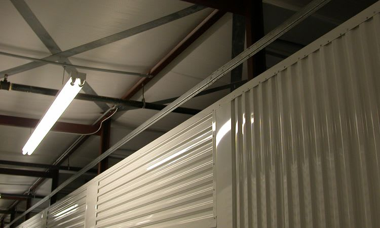 Clean ceiling and bright lights in every unit at Towne Storage in Las Vegas, NV