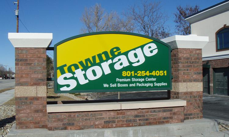 Main sign of Towne Storage in South Jordan, UT