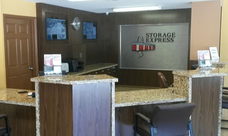 The front desk and office at Storage Express
