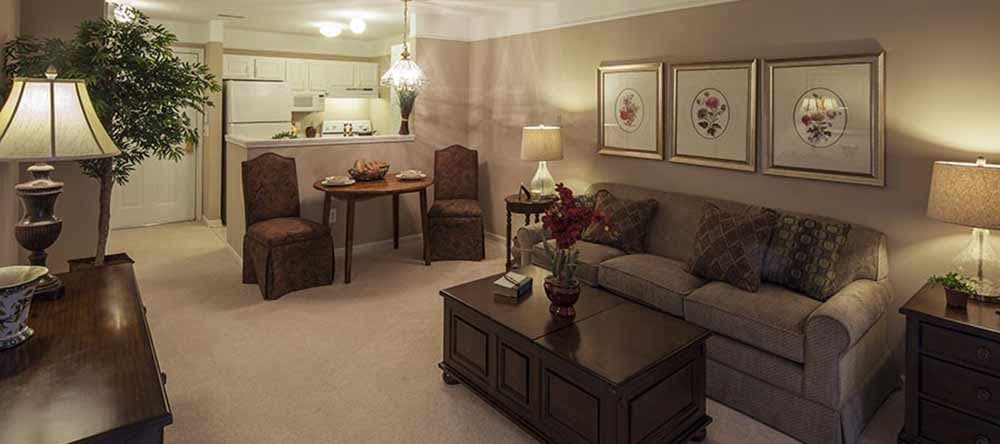 Open living rooms at Waltonwood Cherry Hill