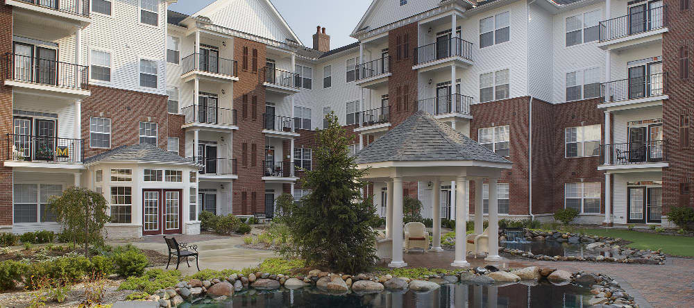 Courtyard at our senior apartments in Sterling Heights, MI