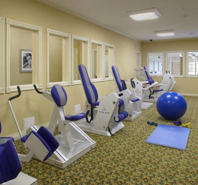 Fitness center at Waltonwood Lakeside in Sterling Heights, MI