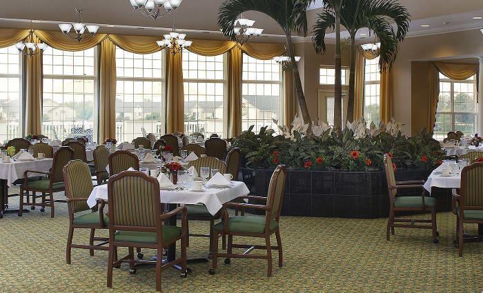 Fancy dining area at Waltonwood Lakeside