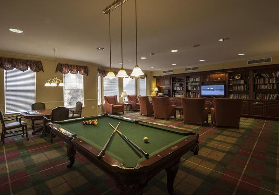 Enjoy our game room at Waltonwood Twelve Oaks senior apartments