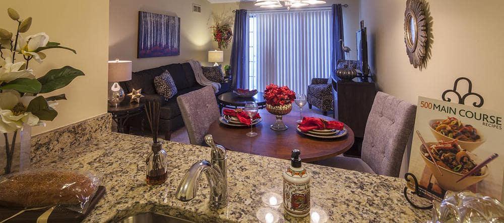Living room at Waltonwood University in Rochester Hills, MI