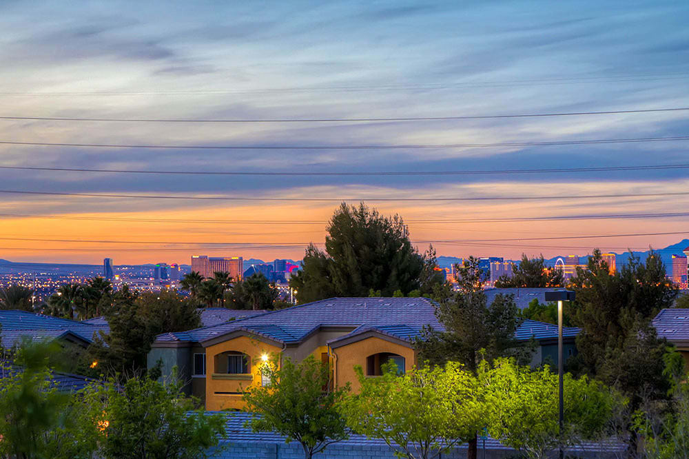 Night views at Merrill Gardens at Siena Hills in Henderson, Nevada.