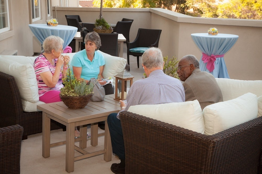 Residents enjoying the common spaces at Merrill Gardens at Oceanside