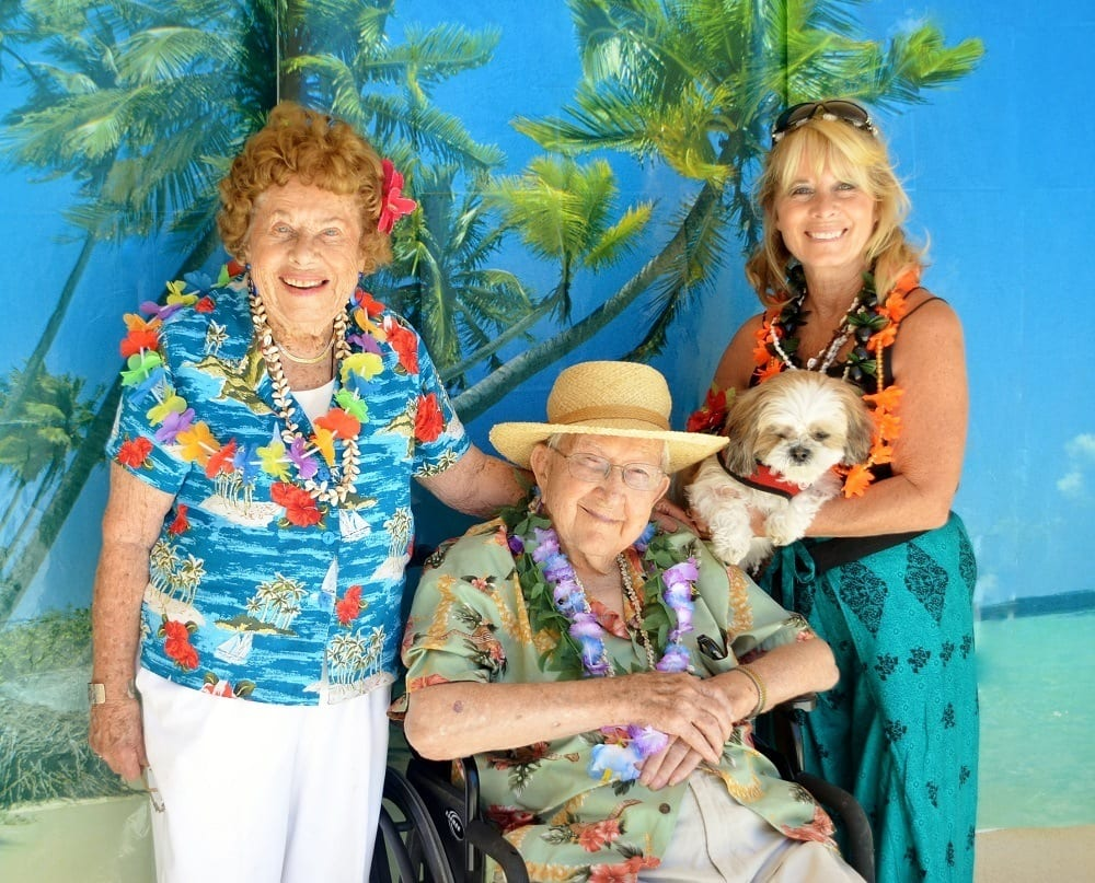 Residents and Guest Enjoying Merrill Gardens at Santa Maria Hawaiian Party