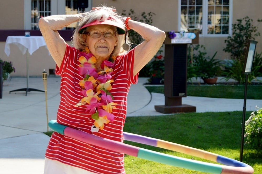Resident Hula Hooping at apartments in Santa Maria, CA