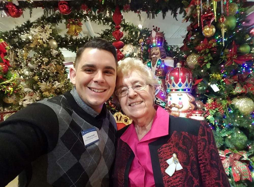Staff and Resident Celebrating the Holidays Merrill Gardens at Green Valley Ranch