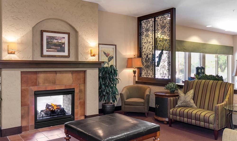 Beautiful fireplace at Henderson senior living