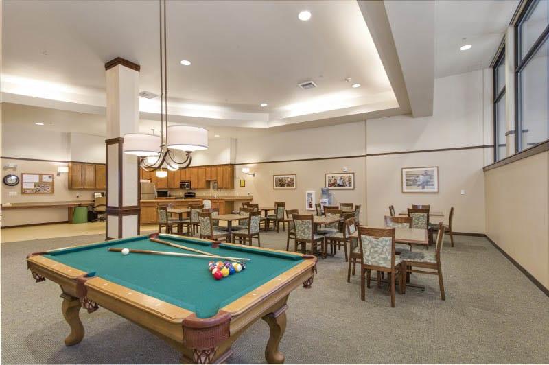 Billiards at senior living in Kirkland, WA