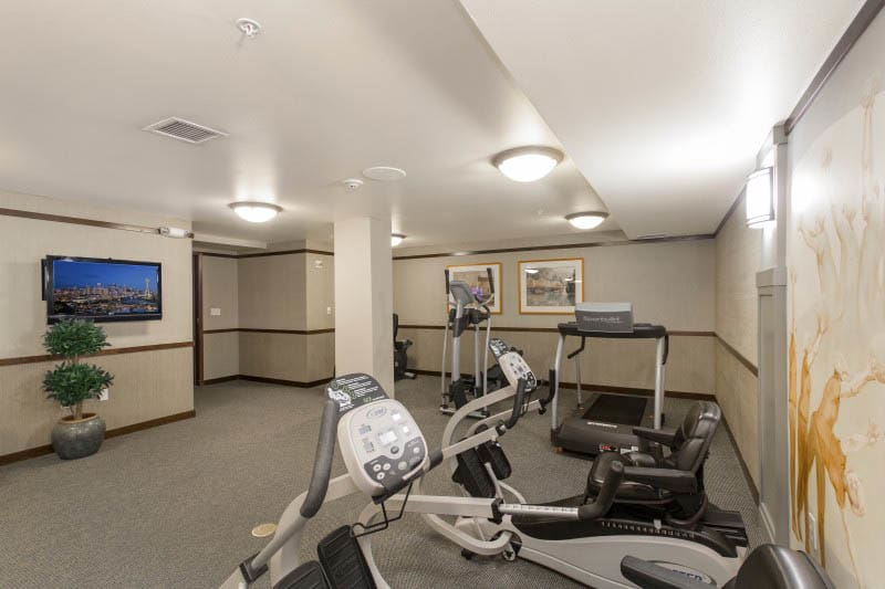 Fitness center at Merrill Gardens at Kirkland in Kirkland, WA