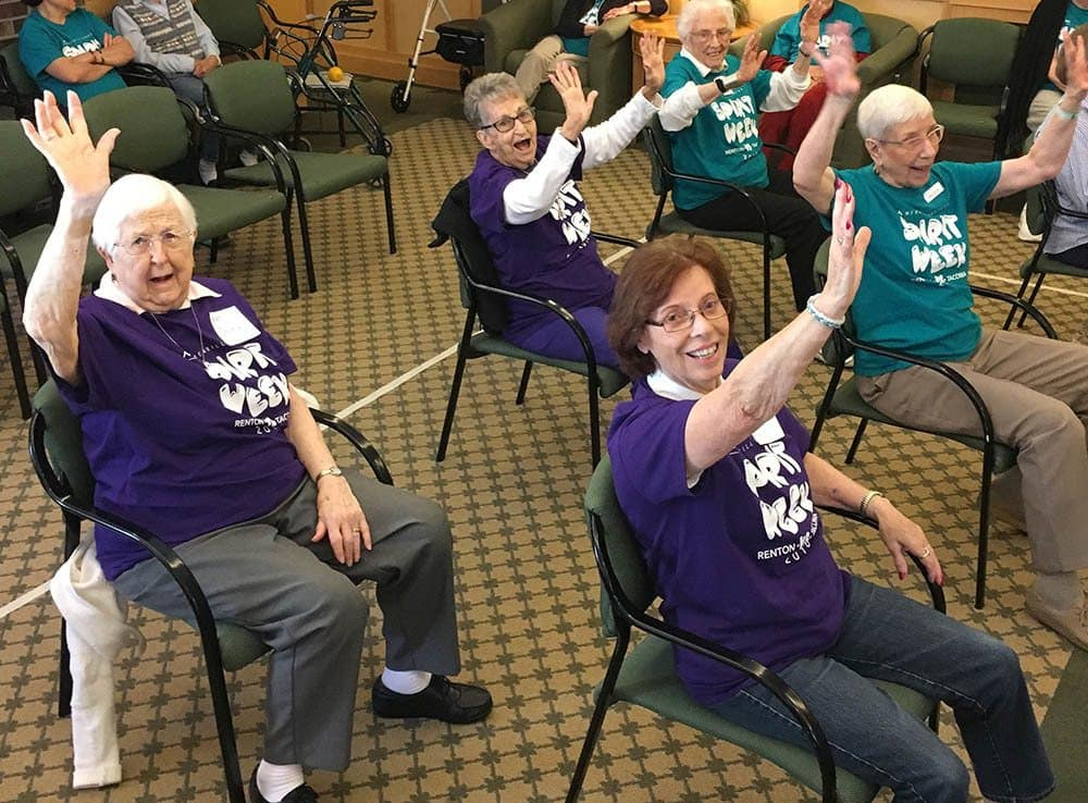 Friends and Residents at Merrill Gardens at Renton Centre in Renton