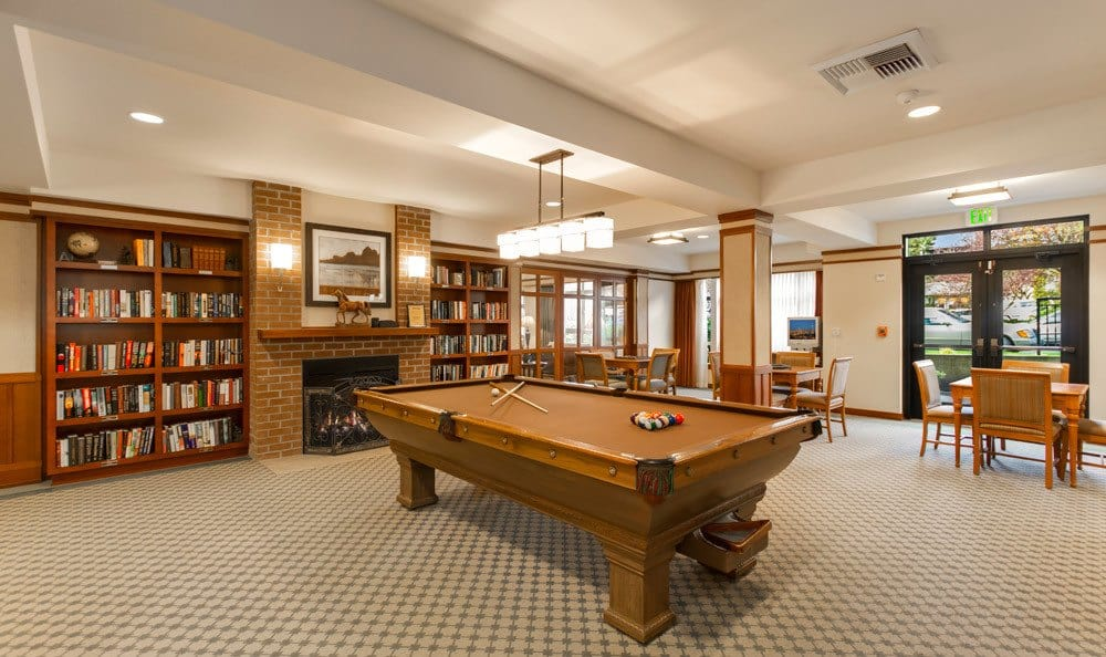Senior living in Seattle includes billiards