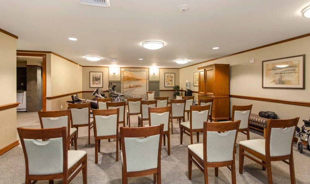 Group exercise room at senior living in Seattle