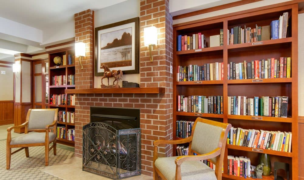 Expansive library at senior living in Seattle