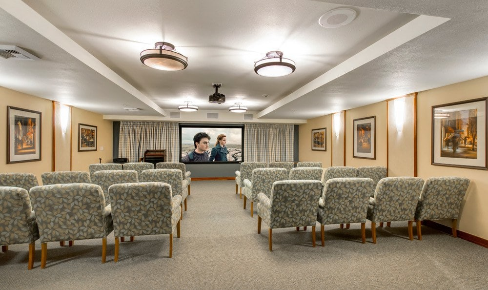 Movie room at senior living in Seattle
