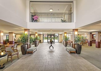 Beautiful lobby of Seattle senior living