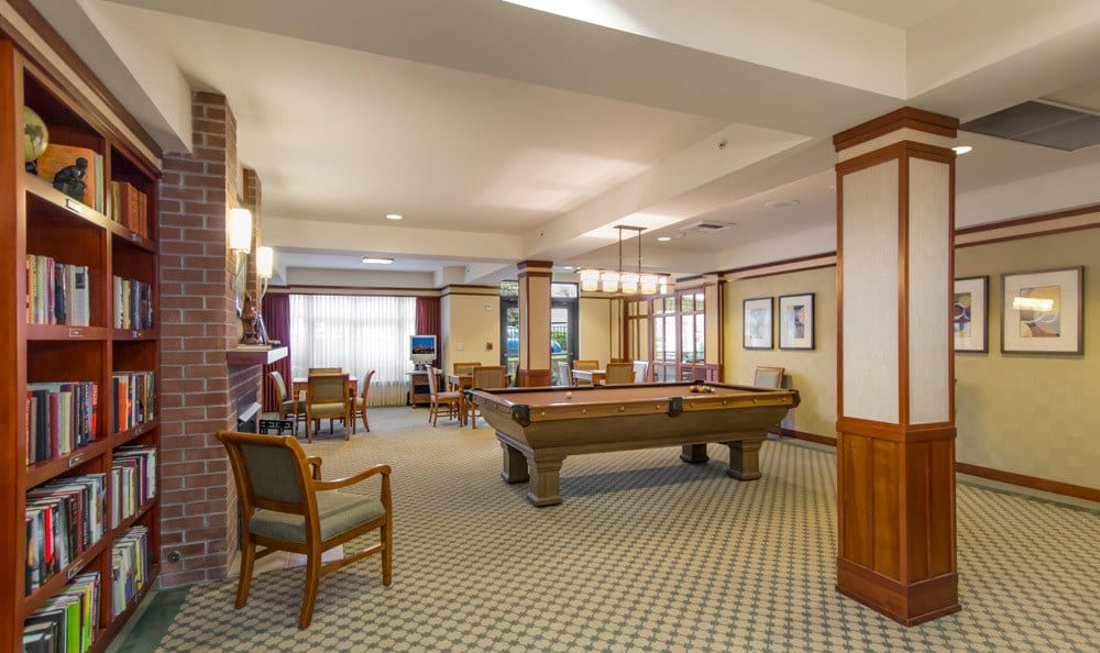 Senior living in Seattle includes a game room