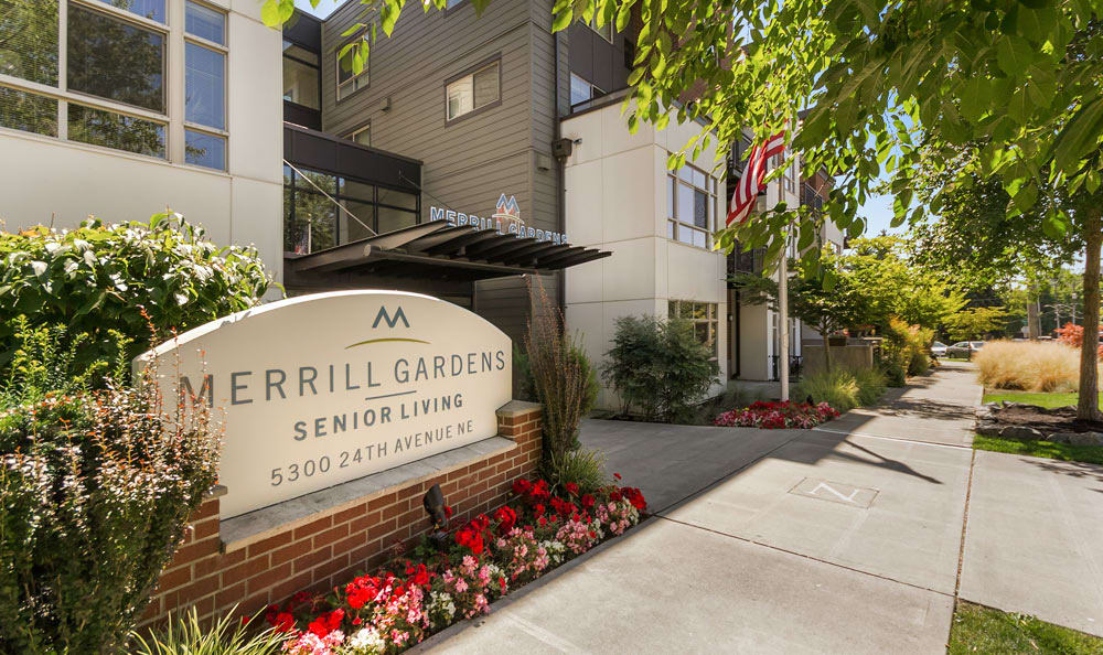Sign for senior living in Seattle at Merrill Gardens at The University