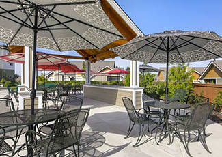 Shaded seating at our senior living facility in Tacoma