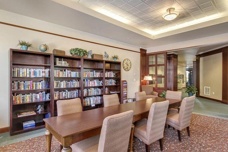 Library at senior living in Tacoma, WA