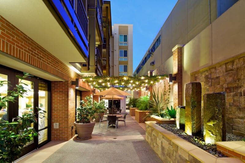 Outdoor seating at senior living in San Diego, CA
