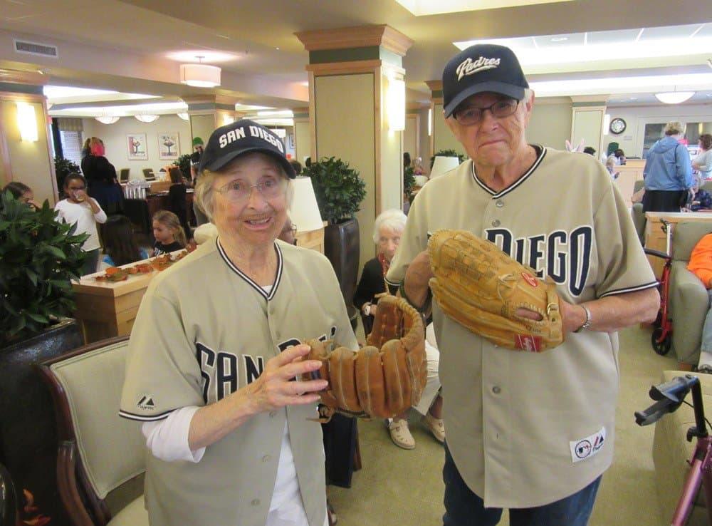 San Diego baseball players at Merrill Gardens at Bankers Hill