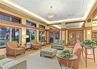 Beautiful lobby of Campbell senior living