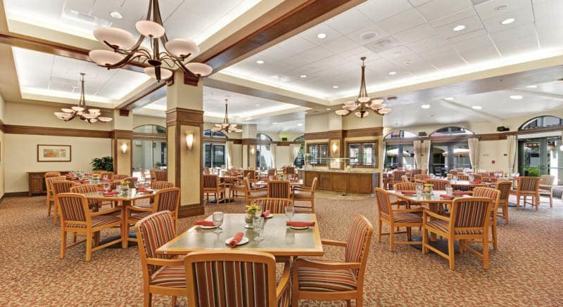 Community dining at Merrill Gardens at Campbell in Campbell, California.
