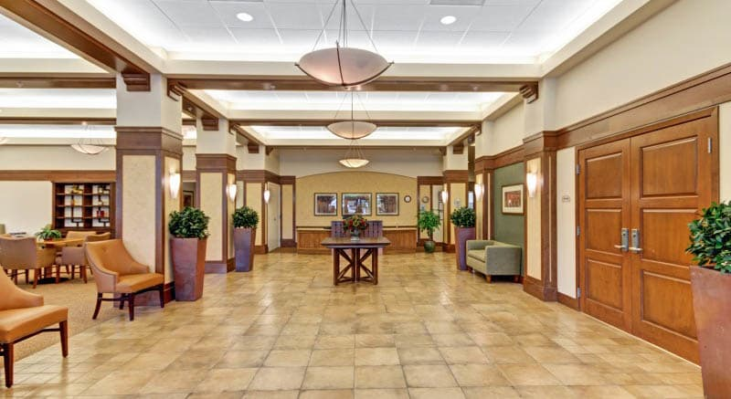 The lobby at Merrill Gardens at Campbell in Campbell, California.