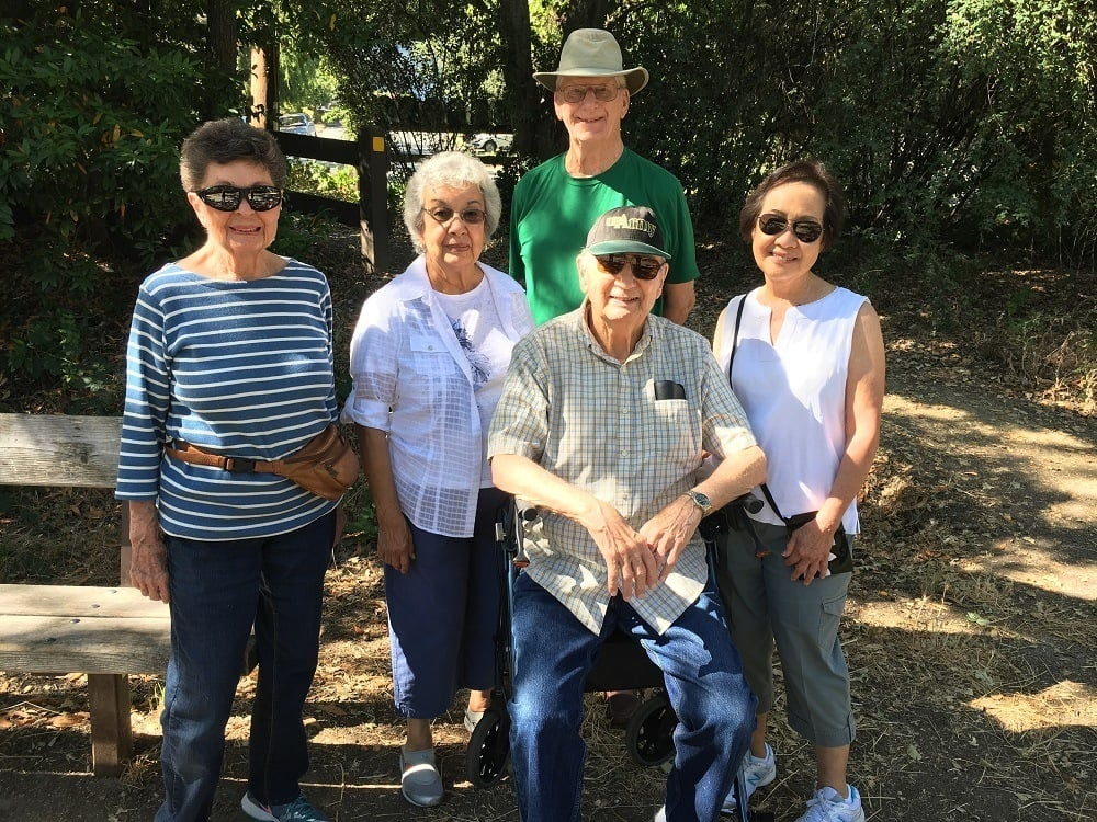 Residents enjoying the parknear Merrill Gardens at Lafayette in Lafayette, California.
