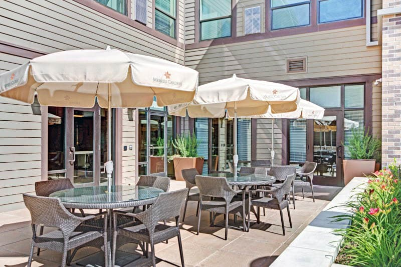 Patio seating at senior living in Lafayette, CA