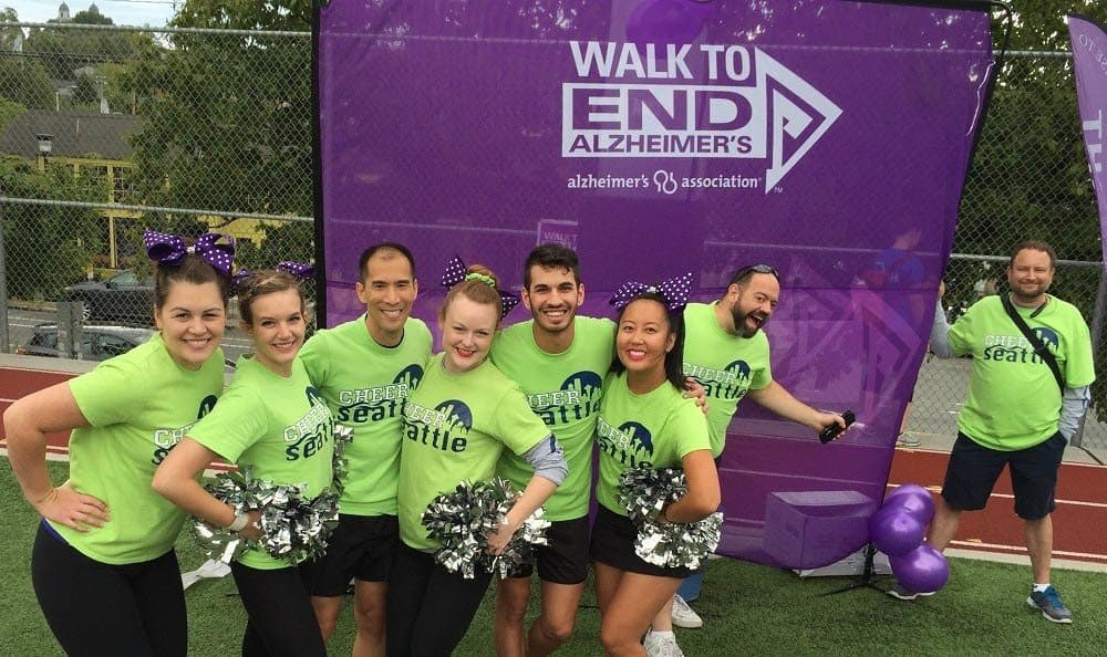Merrill Gardens at First Hill residents, team members and volunteers at the Walk to End Alzheimer's event