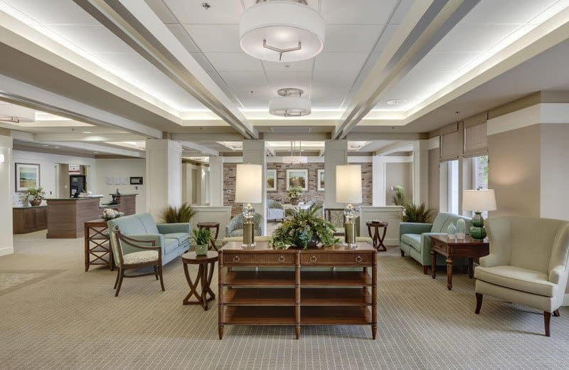 Spacious lobby at Merrill Gardens at Huntington Beach in Huntington Beach, California.